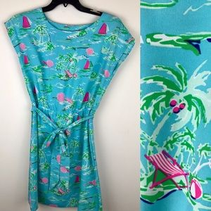 All for Color Blue Pink Dress Beach Sun Sail Boat